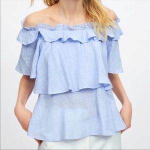 Ruffle off the shoulder blue top